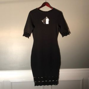 Milly Cutout Fitted Sheath Dress Black Sz M NWT